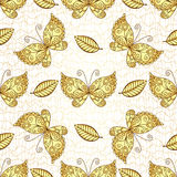 Seamless white pattern with gold butterflies Stock Image