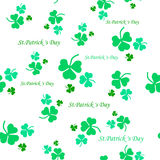 Seamless white pattern of leaf clover. St.Patrick s Day. Vector illustration Stock Photos