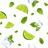 Seamless white pattern, mojito with Ice cubes Stock Photos