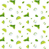 Seamless white pattern, mojito with Ice cubes Royalty Free Stock Image