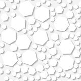 Seamless white pattern with random hexagons Royalty Free Stock Images