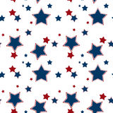 Seamless white pattern with red blue stars background Royalty Free Stock Image