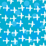 Seamless white pattern with silhouettes of the plane. Blue sky b Royalty Free Stock Photo