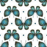 Seamless white pattern with vintage butterflies Royalty Free Stock Photos