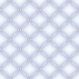 Seamless white quilted background with pearl pins. Stock Image