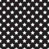 Seamless white stars pattern on black Stock Images