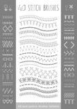 40 seamless white stitch brushes. Royalty Free Stock Photography