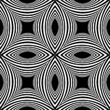 Seamless White Striped Pattern of Concave Rectangle on Black Background. Visual Volume Effect. Royalty Free Stock Images