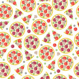 Seamless whole pizza and pieces pattern. Fast food background royalty free illustration