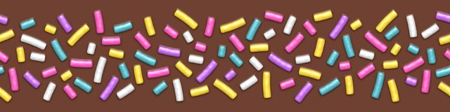 Seamless wide background of chocolate with sprinkles. Seamless wide background of chocolate donut glaze with many decorative sprinkles stock illustration