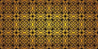 Seamless wide gradient pattern black and gold vintage floral vector illustration
