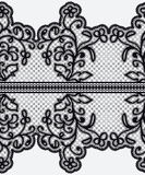 Seamless wide lace ribbon with openwork flowers. Royalty Free Stock Photo