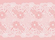 Seamless wide lace ribbon. White delicate flowers on a pink background. Stock Photography