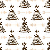 Seamless wigwam pattern with arrows. Hand-drawn indian background vector. Native american tent pattern. Royalty Free Stock Images