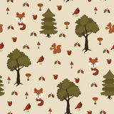 Seamless wild animals in the forest pattern Stock Image