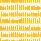 Seamless Wine Bottles Shelf Pattern. Seamless book shelf with wine and liquor bottles Stock Images