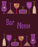Seamless wine, cocktail and martini glasses Stock Photography