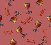 seamless wine för modell blåa dof-exponeringsglas blir grund wine begreppsmässiga färgrika alkoholdrinkar som upprepar bakgrund f royaltyfri illustrationer