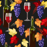 Seamless wine and grape Stock Image