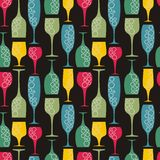 Seamless wineglass background Stock Images
