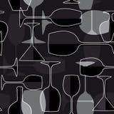 Seamless wineglass background Royalty Free Stock Photos