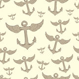 Seamless winged anchors Royalty Free Stock Image