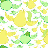 Seamless winged apples and pears Royalty Free Stock Photos