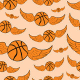 Seamless winged basketballs Stock Images
