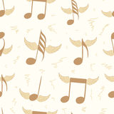 Seamless winged brown notes Royalty Free Stock Photography