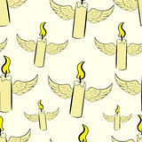 Seamless winged candles. Seamless texture with the winged flying candles Royalty Free Stock Image
