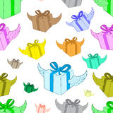 Seamless winged color gifts Royalty Free Stock Images