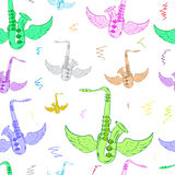 Seamless winged color saxophones white Stock Photo