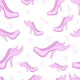 Seamless winged female shoe Stock Image