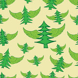 Seamless winged fir-trees. Seamless texture with winged green fir-trees on a light background Stock Image