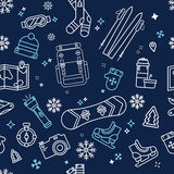 Seamless Winter Adventure Pattern Royalty Free Stock Images