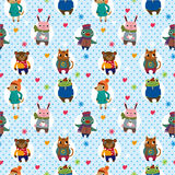Seamless winter animal pattern Royalty Free Stock Image