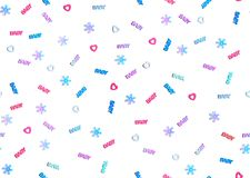 Seamless winter baby shower party background. Pastel colored heart and snowflake confetti with words baby scattered on white background, flat lay. Seamless stock photos