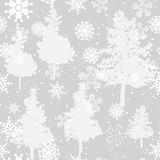 Seamless winter background with pine and snow. Seamless winter background with grey pine and snowflakes Royalty Free Stock Images