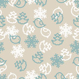 Seamless winter background with snowflakes, birds Stock Images