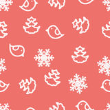 Seamless winter background with snowflakes, birds Stock Photo