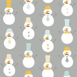 Seamless Winter Background with Snowman Royalty Free Stock Image