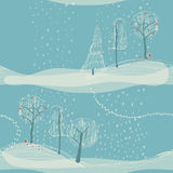 Seamless winter background with trees Royalty Free Stock Images