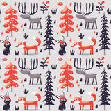 Seamless winter christmas pattern fox, rabbit, mushroom, moose, bushes, plants, snow, tree Royalty Free Stock Photo