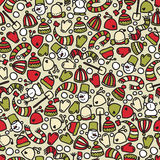Seamless winter clothes and Christmas pattern. Stock Image