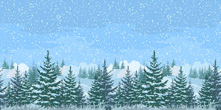 Seamless Winter Forest Landscape Royalty Free Stock Image