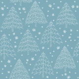 Seamless Winter Forest Pattern. Seamless hand drawn illustration (pattern) of Christmas trees with snowflakes on blue background. Illustration is in eps8  mode Stock Photo