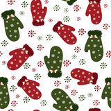 Seamless winter gloves pattern Royalty Free Stock Image