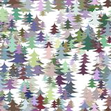 Seamless winter holiday background - colorful pine tree pattern Christmas vector graphic design Stock Image