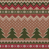 Seamless Winter Holiday Pattern on the wool knitted texture. Chr Stock Photography