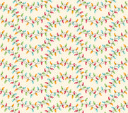 Seamless Winter Holidays Pattern with Christmas Lights. On Beige Background Royalty Free Stock Images